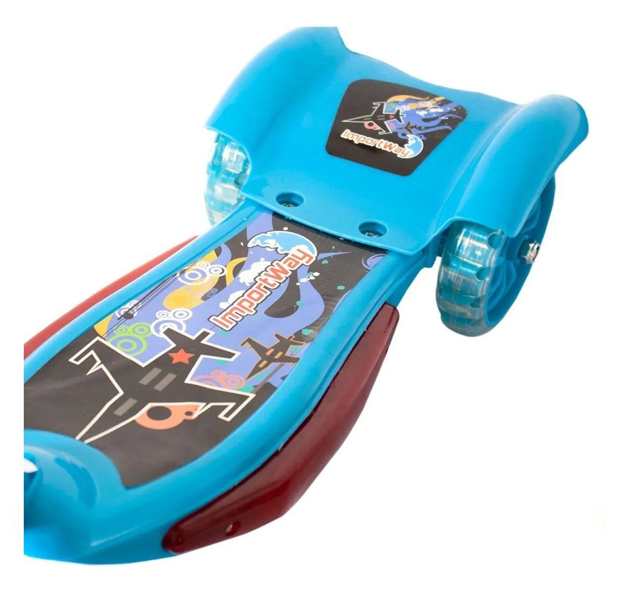 Patinete Infantil 3 Rodas Musical Luzes E Cesta Importway -  Azul