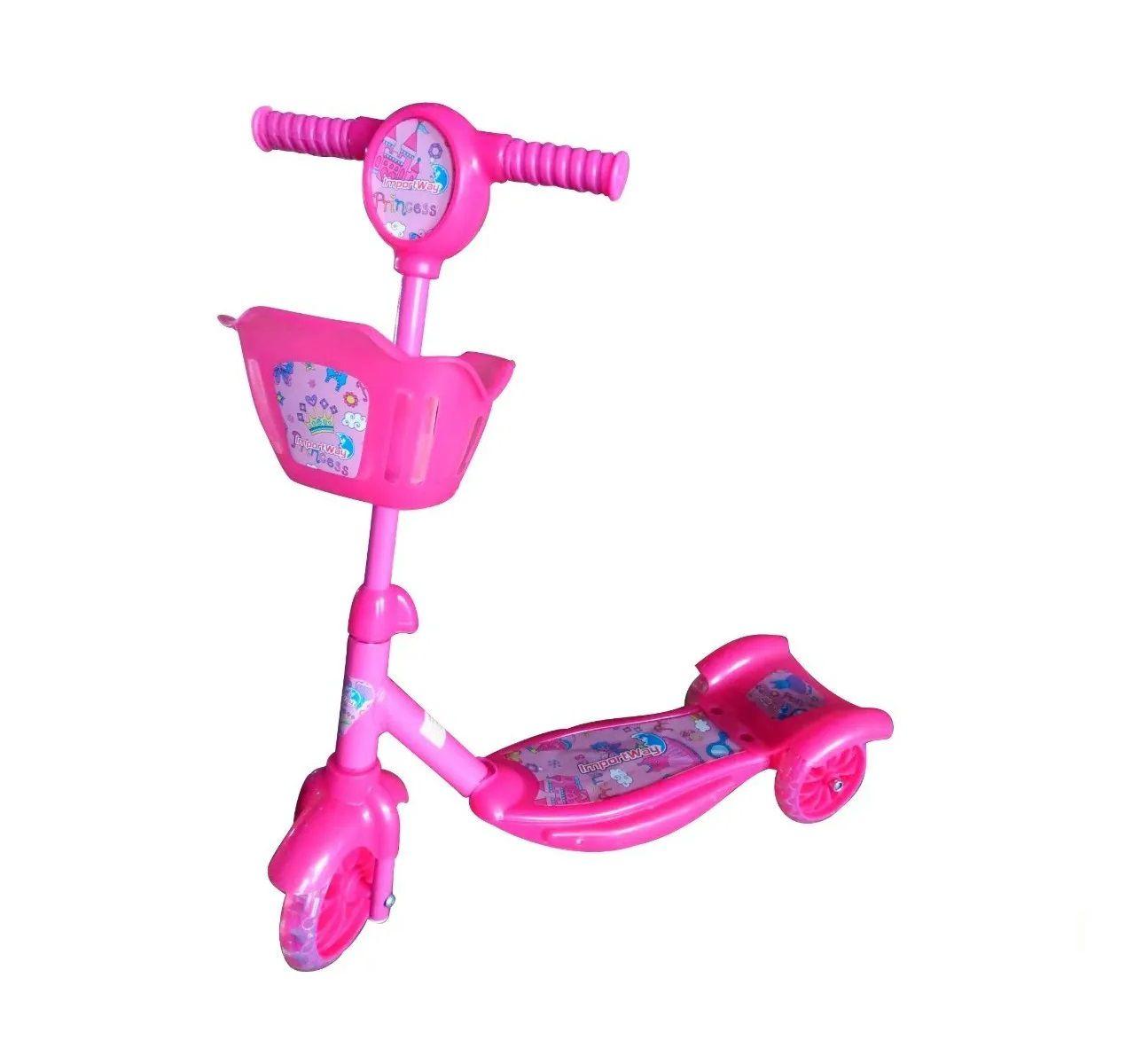 Patinete Infantil 3 Rodas Musical Luzes E Cesta Importway - Rosa