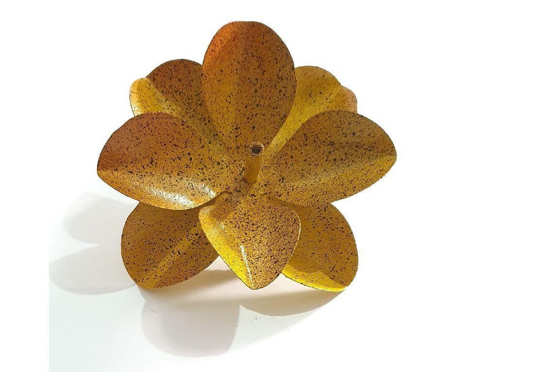 Porta Incenso Incensário Metal Flor De Lotus Amarelo