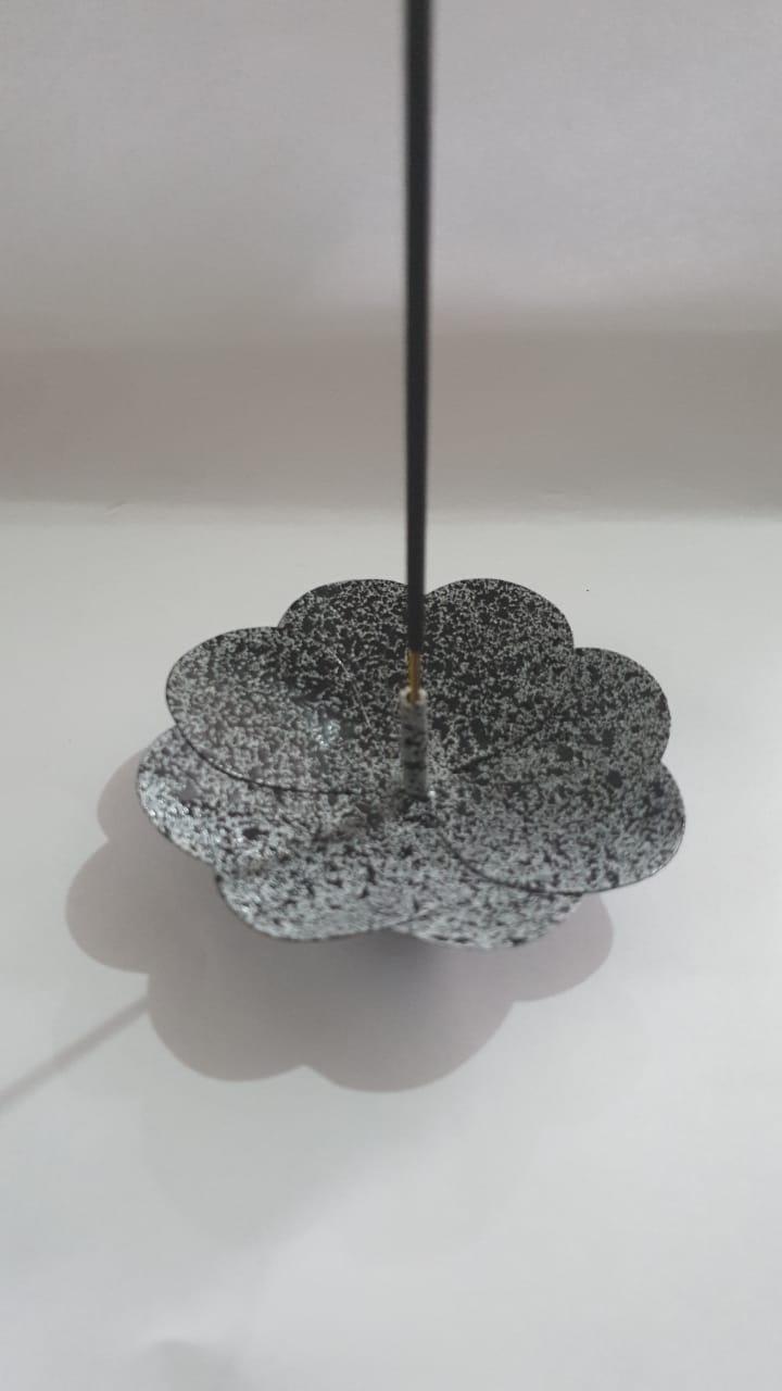 Porta Incenso Incensário Metal Flor De Lotus Cinza