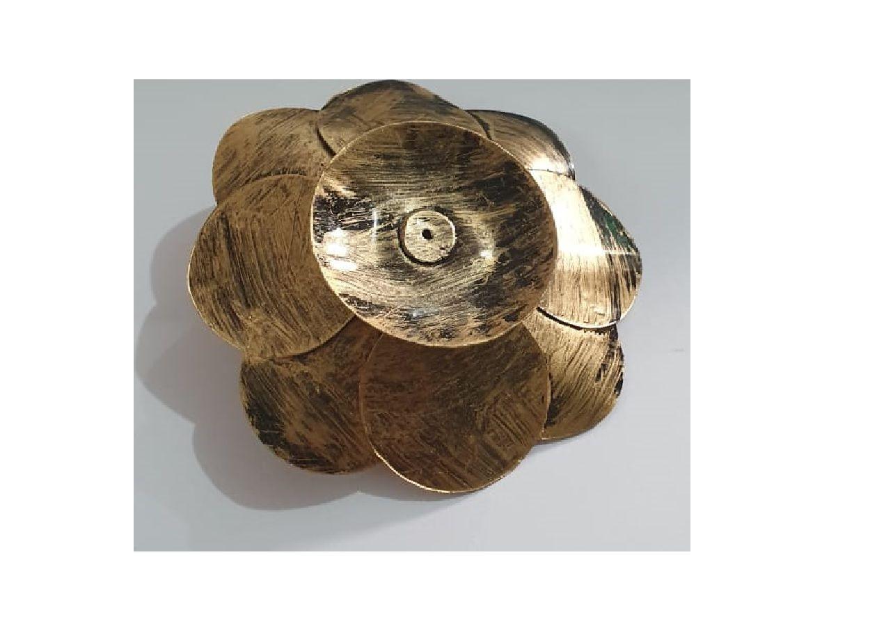 Porta Incenso Incensário Metal Flor De Lotus Dourado