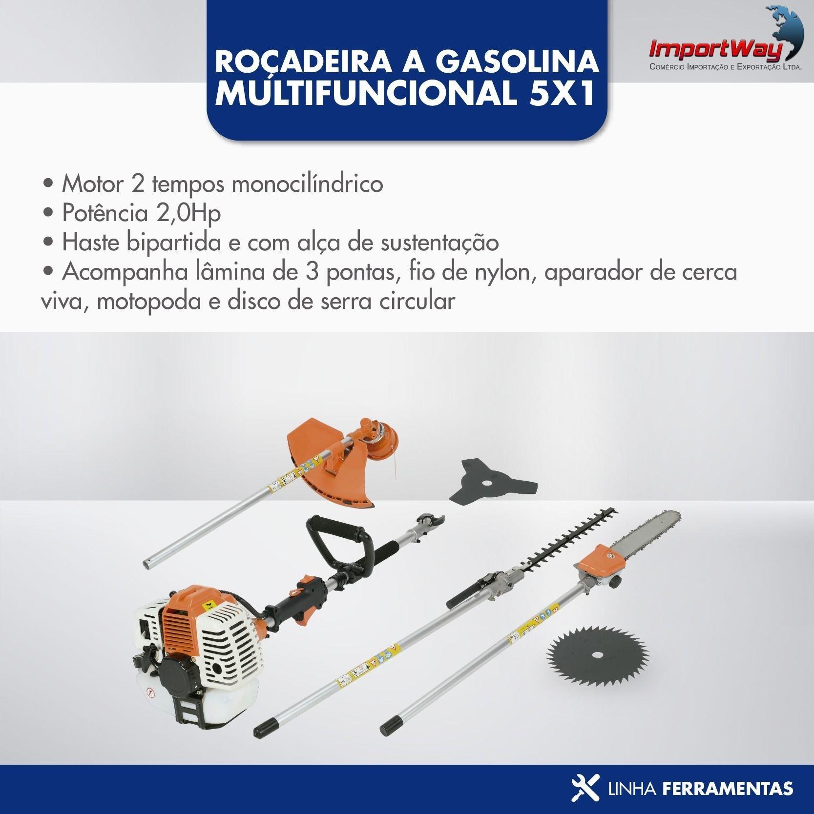 Roçadeira A Gasolina 58cc Multi Funções 5x1 - Importway