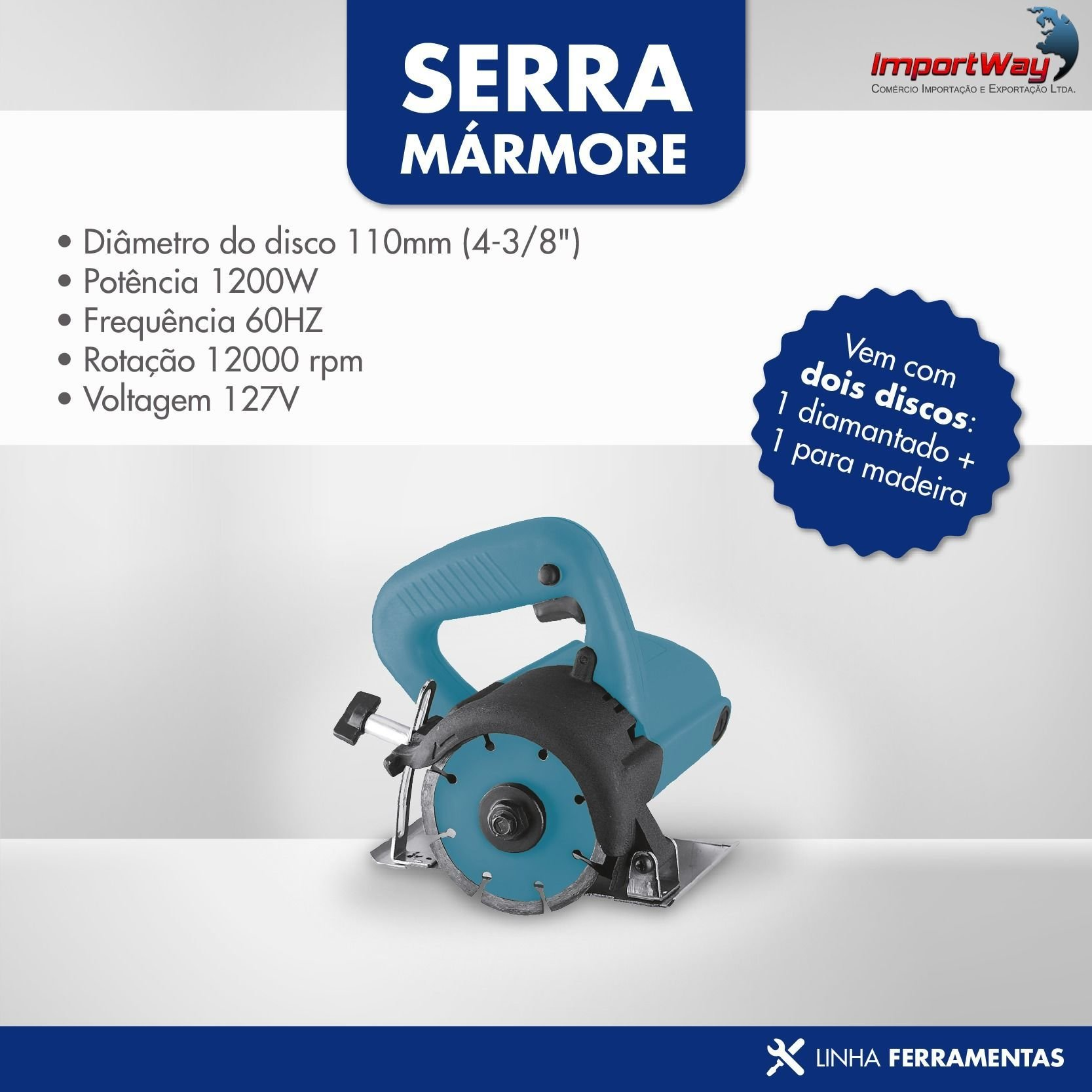Serra Mármore Tipo Makita 1200w 110v com 2 Discos Brinde - Importway