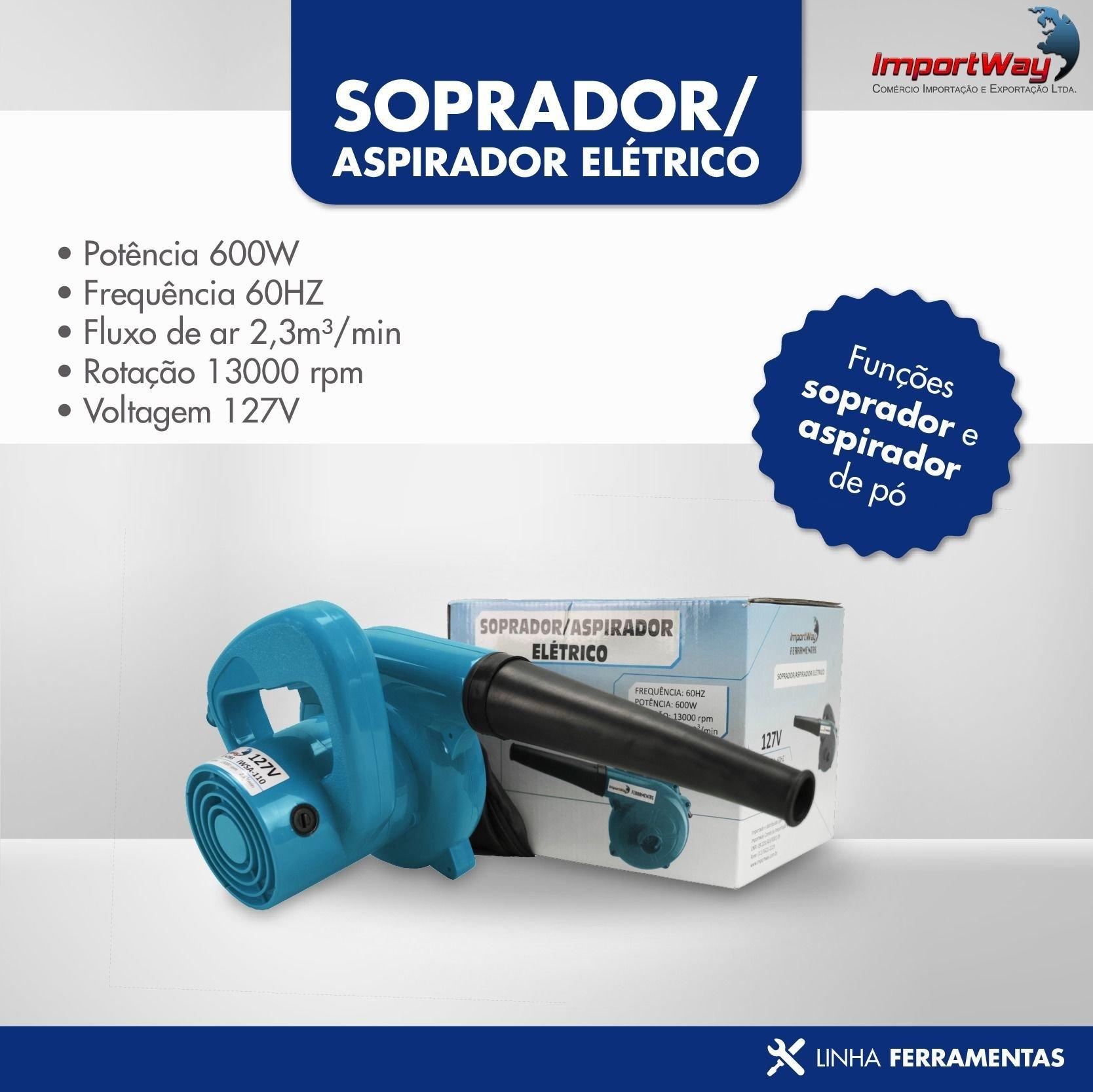 Soprador Aspirador Ar Pó 600w 127v - Importway