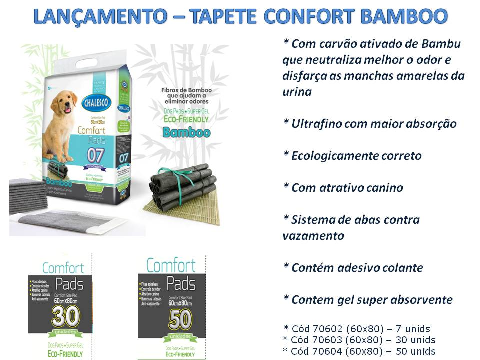 Tapete Higiênico Bamboo Ecológico para Cães 50 Un - Chalesco