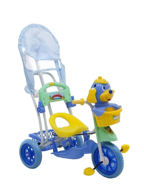Triciclo Infantil Cachorro com Capota Luzes e Musica Azul - Belfix