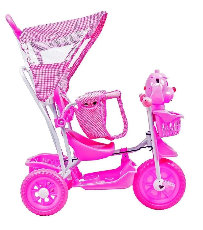Triciclo Infantil Cachorro com Capota Luzes e Musica Rosa - Belfix