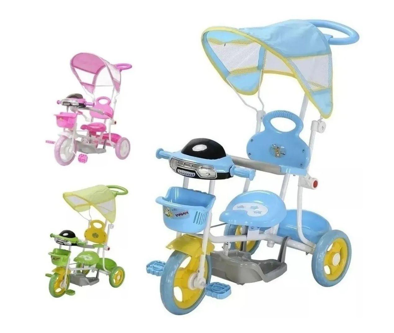 Triciclo Infantil Carrinho De Passeio 2 em 1 com Cobertura e Haste - Azul