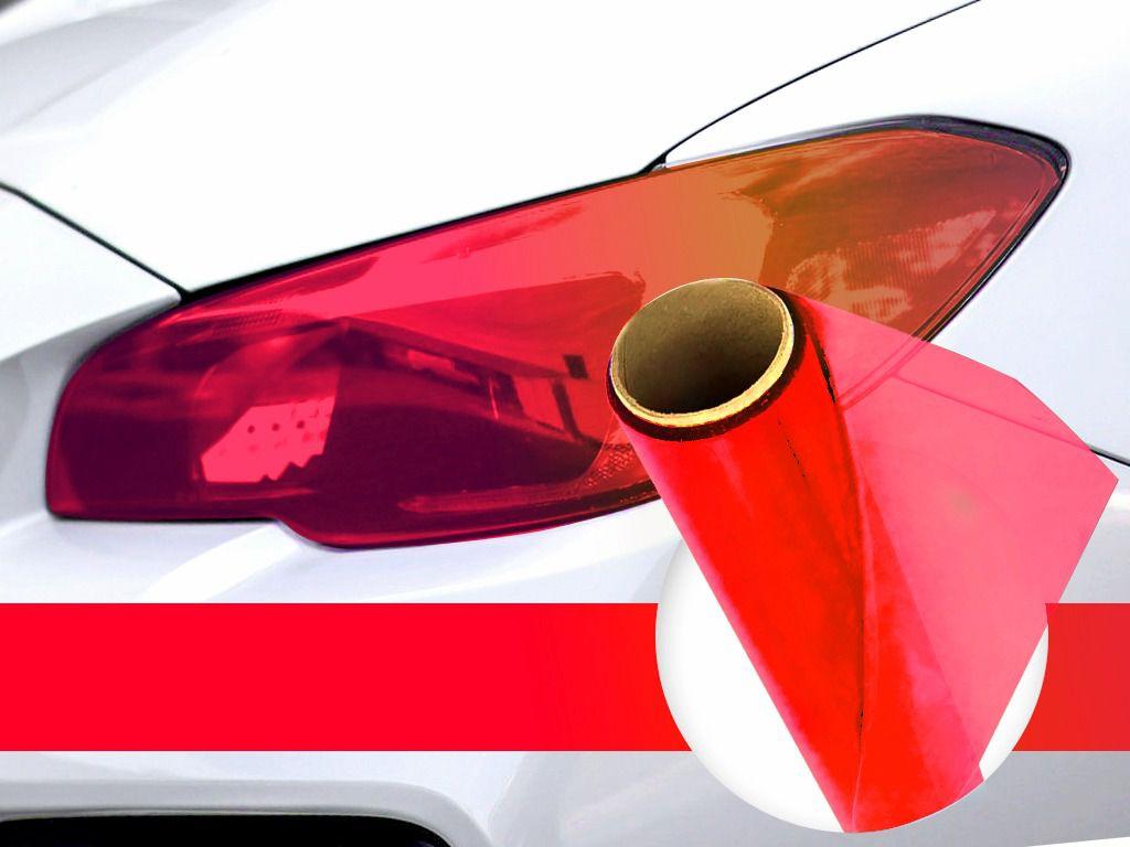 Adesivo Vermelho Película Para Lanterna Farol Carro moto