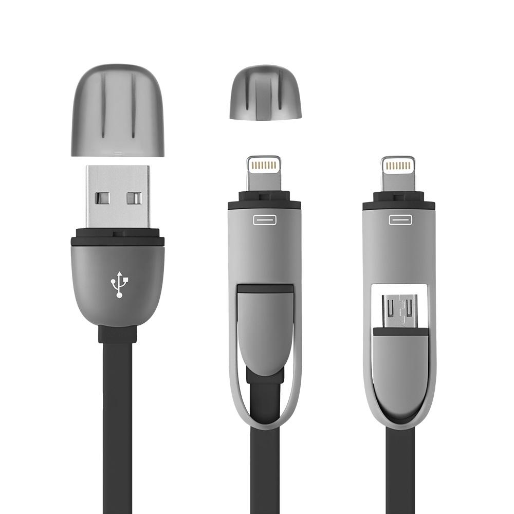 Cabo 2 em 1 USB com adaptador para Iphone Preto - WI333