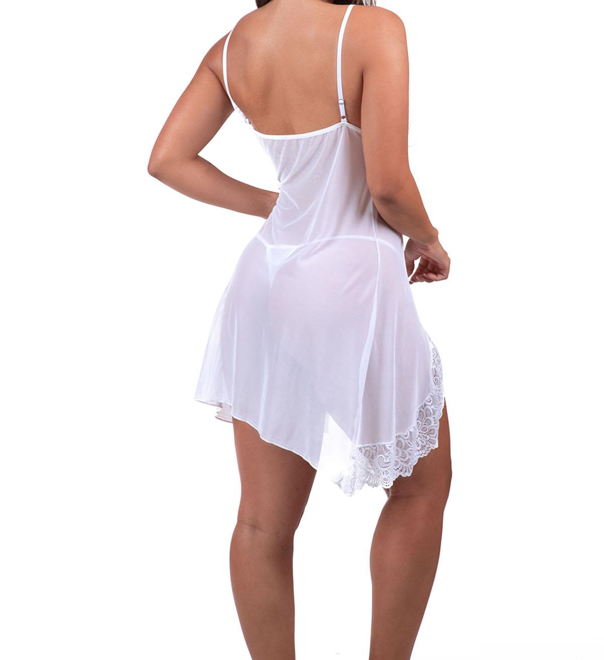 Camisola Transparente Em Tule E Renda + Calcinha Sexy