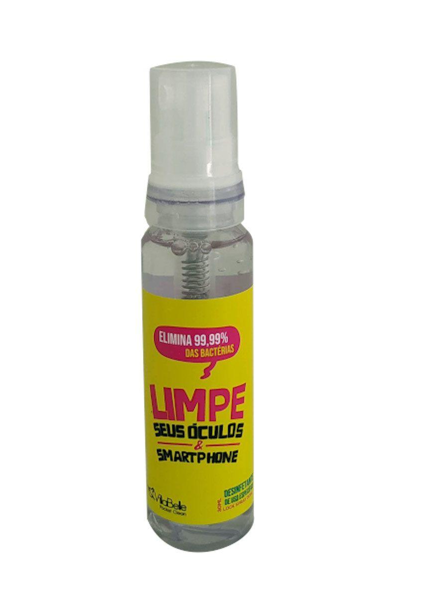Kit Spray Limpa Tela Smartphone com Porta Óculos Veicular