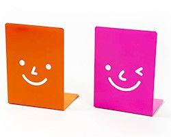 Suporte Aparador De Livros Dvd Cd Decorativo Smile 2 Peças