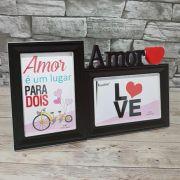 Porta Retrato Duplo 10x15 Acrílico Amor Square PF-1067PO