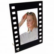 Porta Retrato 10x15 Vidro Filme Vertical Preto Square Pf-1102-4