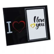 Porta Retrato 10x15 Vidro I Love Horiz Square PF-0581-4