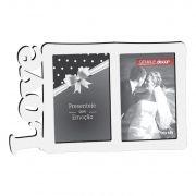 Porta Retrato Duplo 10x15 Love Branco Geniale Madeira