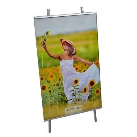 Porta Retrato 10x15 Cavalete Square Vert. Prata PF-1201-4PA