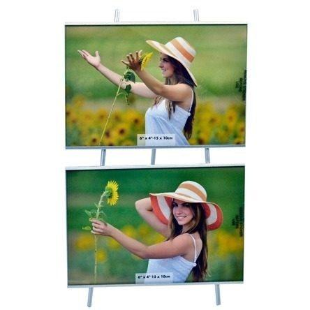 Porta Retrato 10x15 Cavalete Duplo Square Prata Pf-404