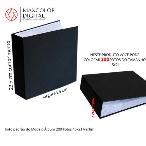 Álbum 200 Fotos 15x21 Marfim Com Miolo Rec 109/22
