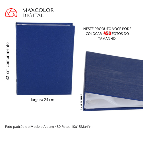 Álbum 450 Fotos 10X15 Com Miolo Marfim Rec 109/23