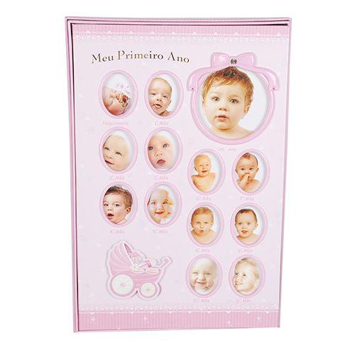 Álbum do bebê 100 Fotos 15x21 Meu primeiro ano Rosa Square