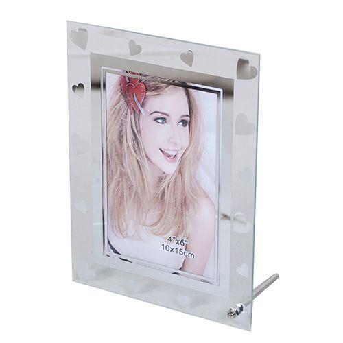 Porta Retrato 15x21 Vidro Square coração Transp. Pf-1101-6