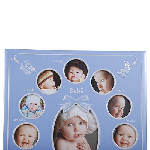 Porta Retrato bebe 12 Meses Azul Square SCI-241AZ