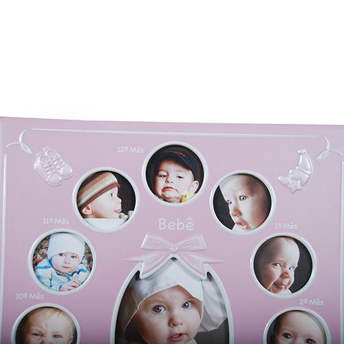 Porta Retrato bebe 12 Meses Rosa Square SCI-241RO