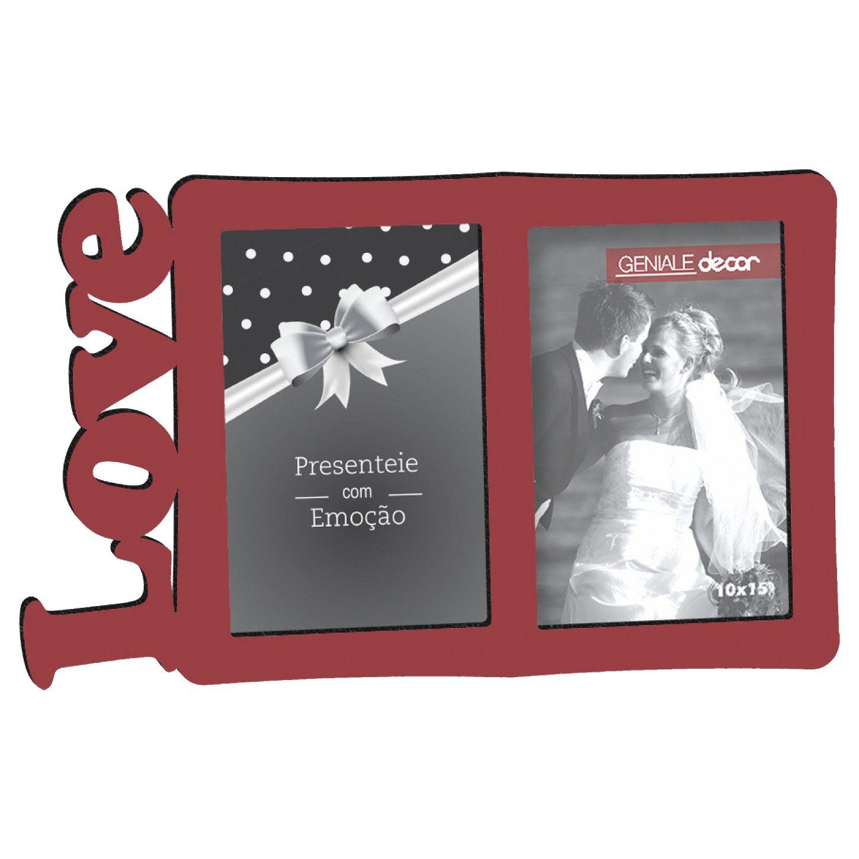 Porta Retrato Duplo 10x15 Love Vermelho Geniale Madeira