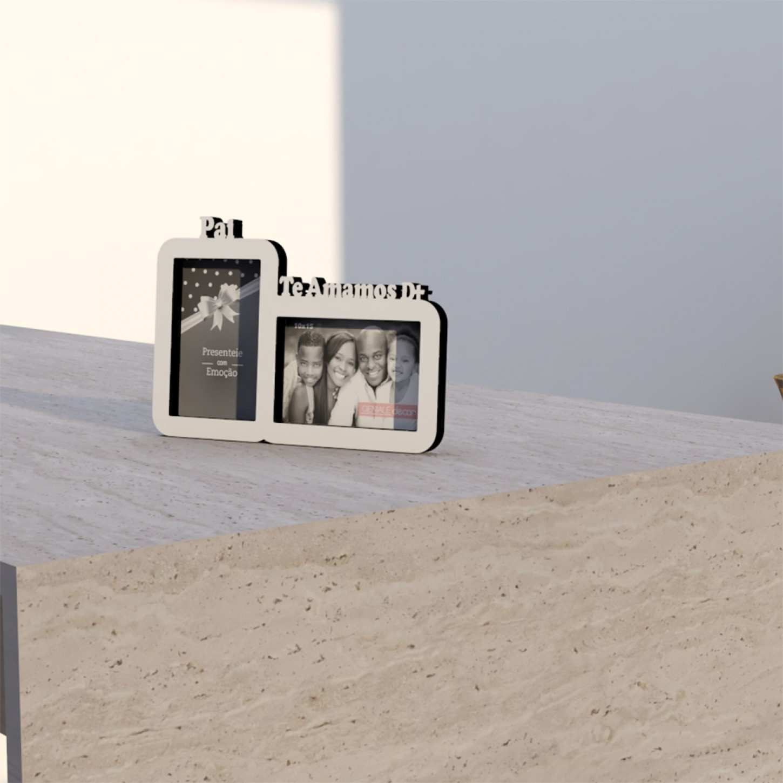 Porta Retrato Duplo 10x15 Pai te amamos d+ Geniale 15