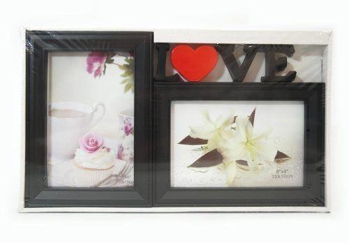 Porta Retrato Love Duplo 10x15 Square Preto PF-1032PO