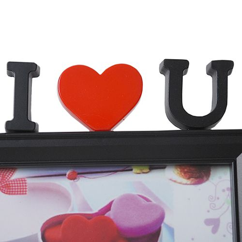 Porta Retrato Para 2 Fotos 10x15 Square Preto I Love you PF-1033PO