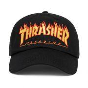 Boné Thrasher Flame Aba Curva Preto