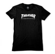 Camiseta Feminina Thrasher Skate Mag Preta Logo Branco