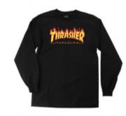 Camiseta Thrasher Flame Manga Longa Preta