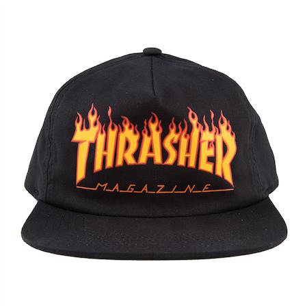 Boné Thrasher Aba Reta Desconstruído Flame Snapback Preto