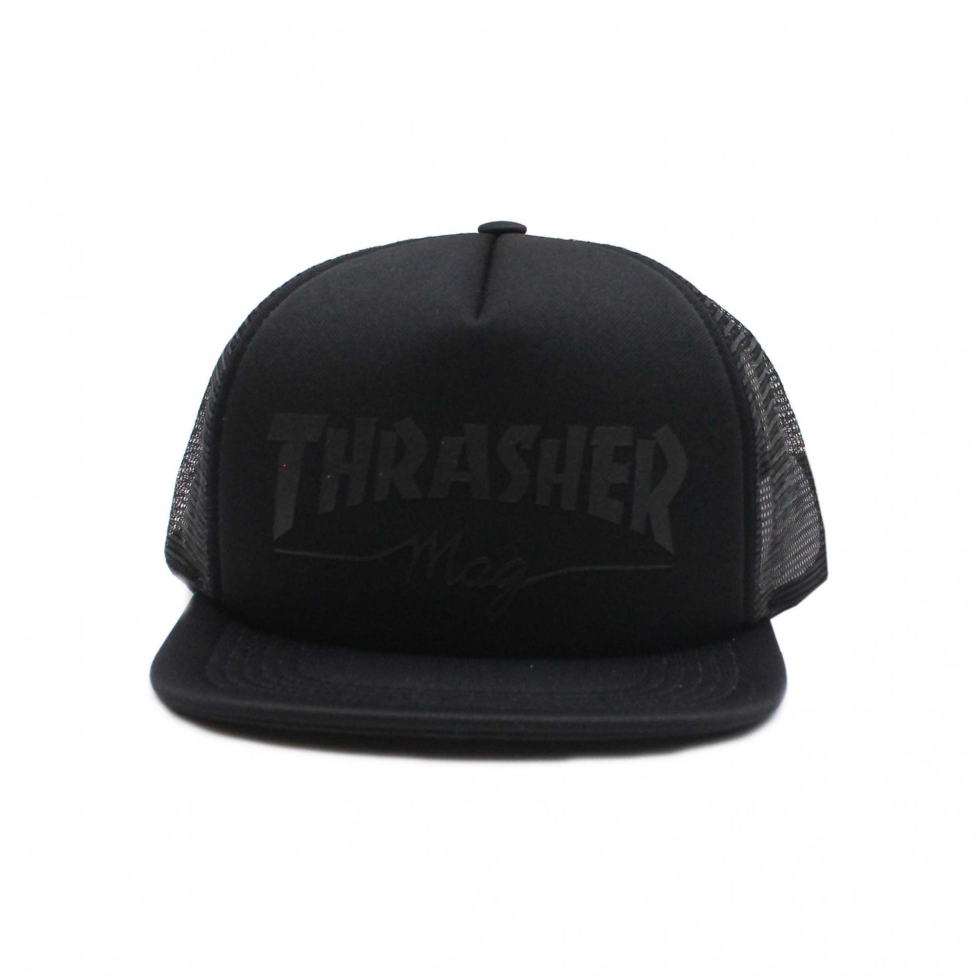 Boné Thrasher Aba Reta Trucker Snapback Girls Logo Preto
