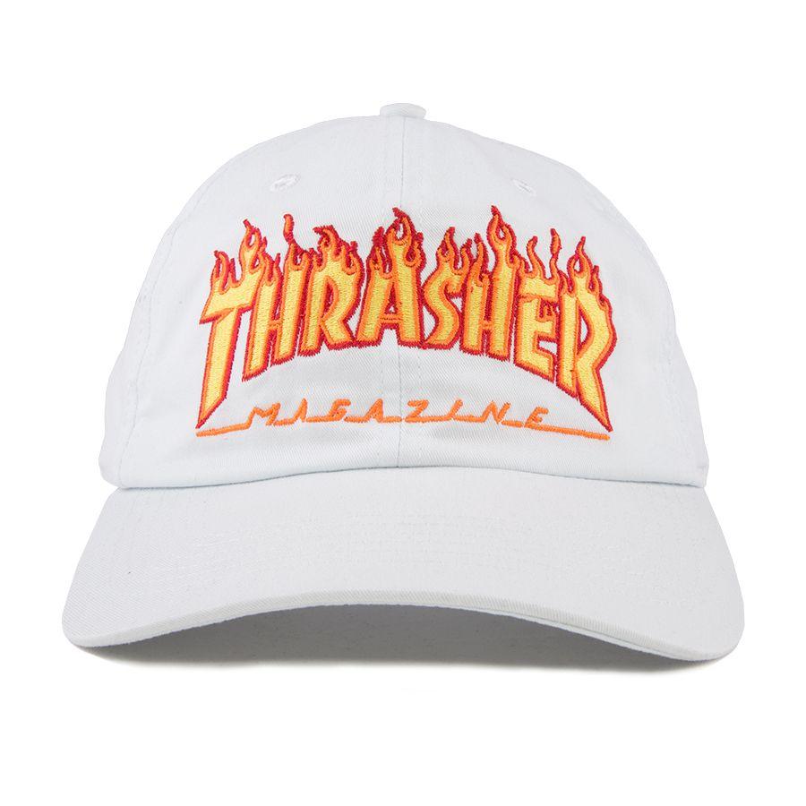 Boné Thrasher Flame Aba Curva Branco