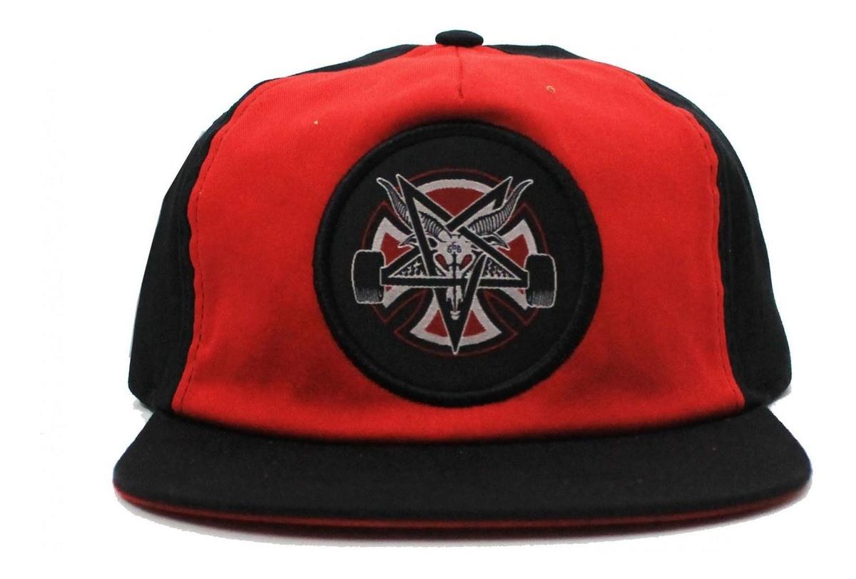 Boné Thrasher X Independent Aba Reta Desconstruído Pentagram Cross Snapback Preto/Vermelho