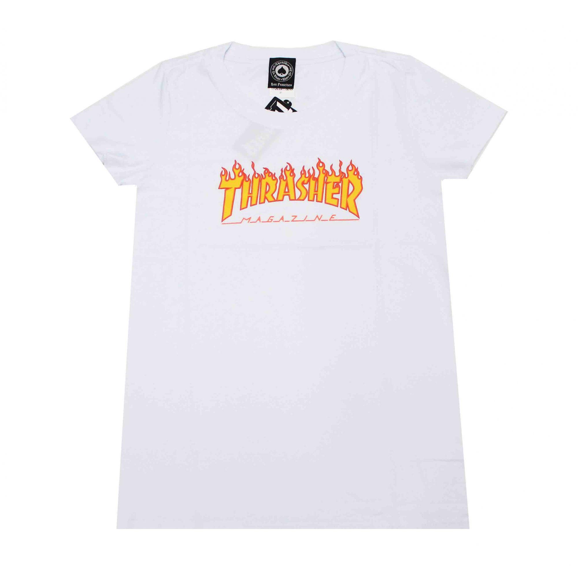 Camiseta Feminina Thrasher Flame Branca