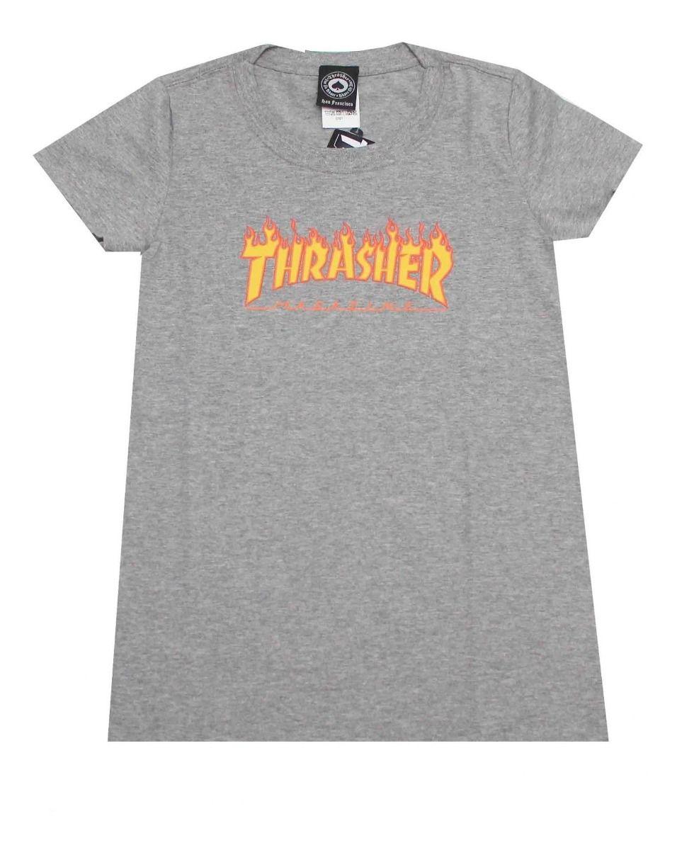 Camiseta Feminina Thrasher Flame Mescla