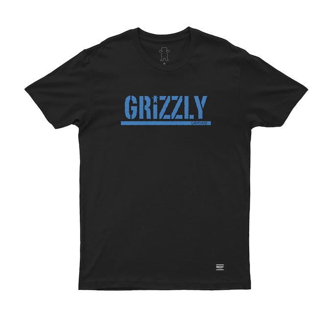 Camiseta Grizzly Stamp Blue Preta