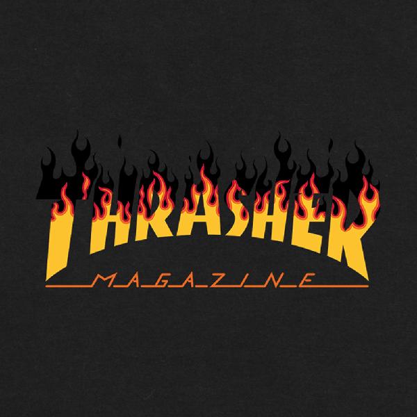 Camiseta Thrasher Flame Barbecue Preta