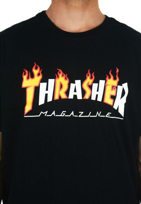 Camiseta Thrasher Flame Mag Preta