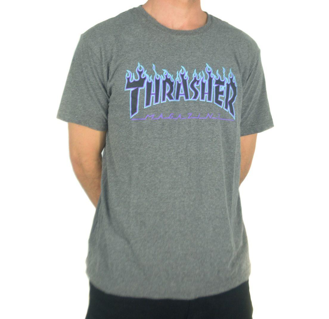 Camiseta Thrasher Flame Purple Cinza Escuro