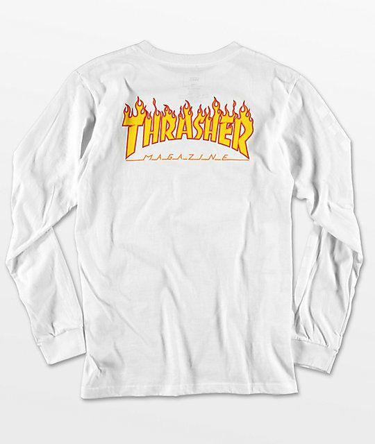 Camiseta Thrasher Flame Manga Longa Branca
