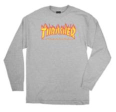 Camiseta Thrasher Flame Manga Longa Cinza