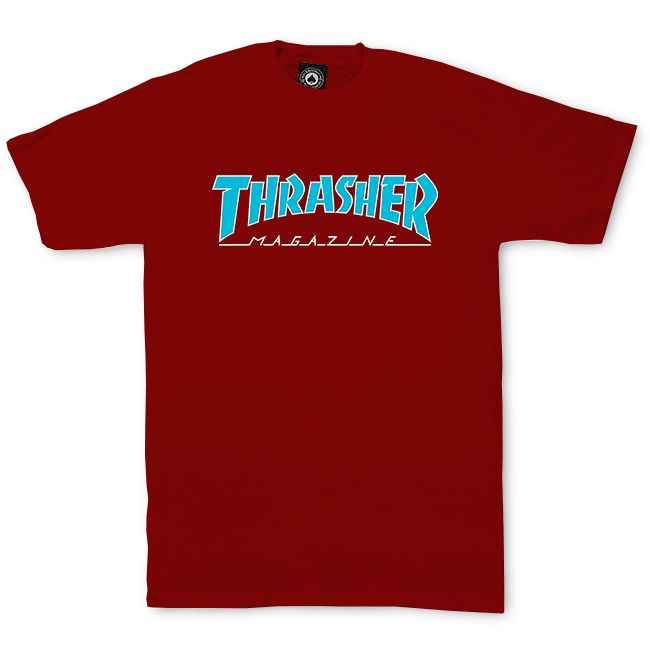 Camiseta Thrasher Outlined Bordo Logo Azul
