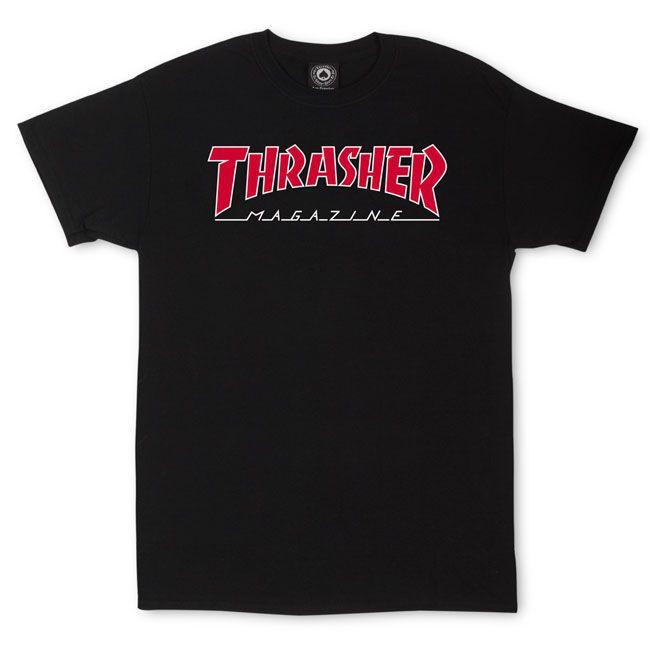 Camiseta Thrasher Outlined Preta Logo Vermelho